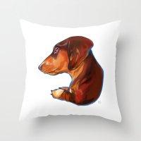 dachshund Throw Pillows featuring Dachshund by Kendra Aldrich