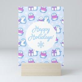 Winter Penguins // Blue Mini Art Print