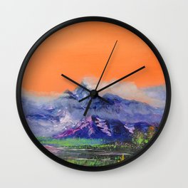 Mountains landscape. Diptych Wall Clock