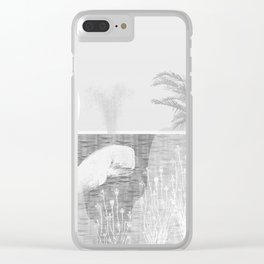 Tropical Black and White Vintage Whale Design Clear iPhone Case