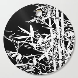 White Bamboo Silhouette On Black Cutting Board