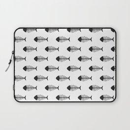 Black & White Fish Skeleton Pattern Design Laptop Sleeve