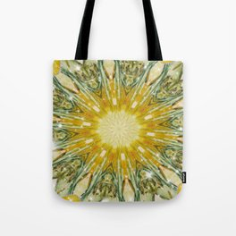 Green and Yellow with Sparkles Kaleidoscope Mandala Retro Abstract Tote Bag