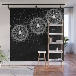 Star Lace Lattice Black Wall Mural