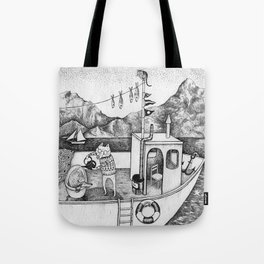 Fox on Fishing-boat Tote Bag