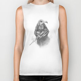 Hooded Vulture with Uilleann Pipes by Pia Tham Biker Tank