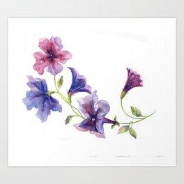 Watercolor branch of petunia. Art Print