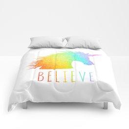 Believe     Rainbow Glitter Unicorn Comforters