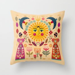 Folk Art Inspired By The Fabulous Frida Throw Pillow