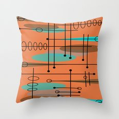 Atomic Era Inspired Dark Orange Throw Pillow