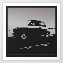 Fiat 500 classic, Gray on Black Art Print