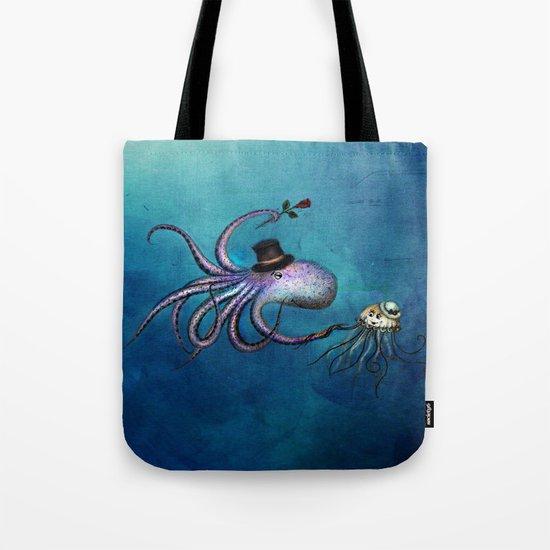 Underwater Love // octopus jellyfish Tote Bag