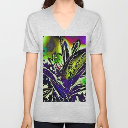 Vivid Foliage in Purple and Lime Unisex V-Neck