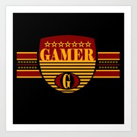 gamer Art Prints featuring GAMER by Robleedesigns