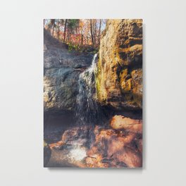 Autumn view of a forest waterfall Metal Print