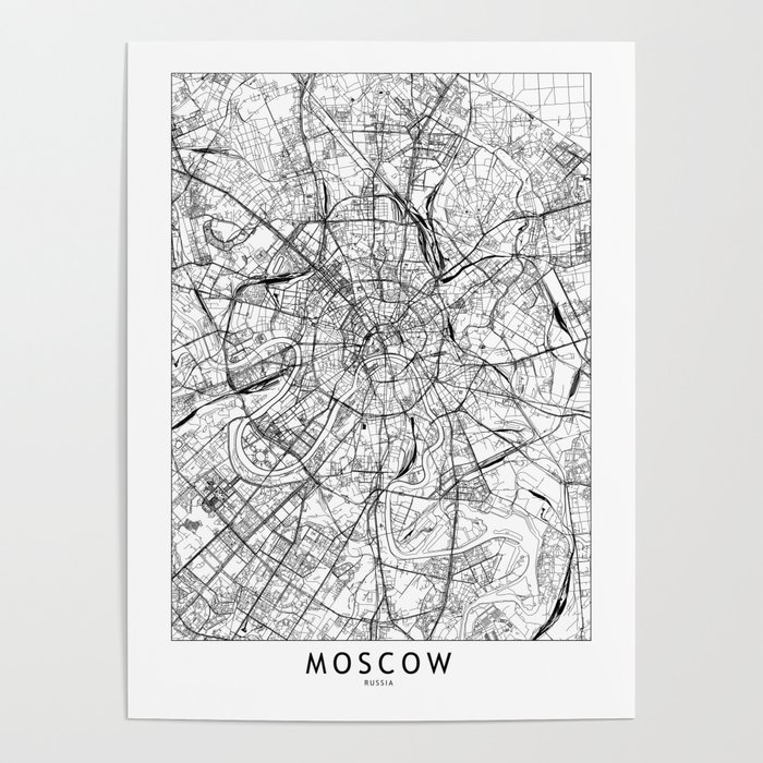 Moscow White Map Poster
