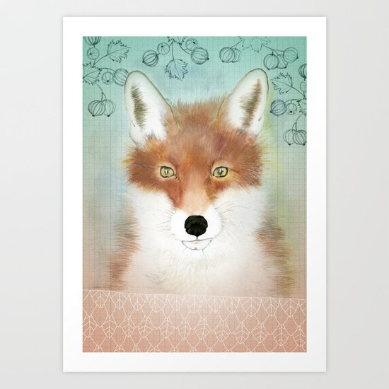 FOX AND BERRIES Art Print