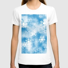 Christmas Elements Blue White Snowflakes Design Pattern T-shirt
