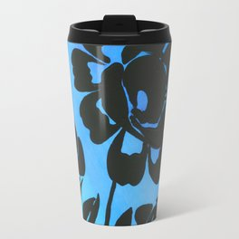 Rose Silhouette with Painted Blue Background Travel Mug