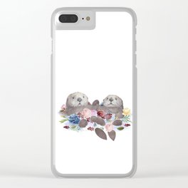 Sea Otters Holding Hands, Love Art Clear iPhone Case