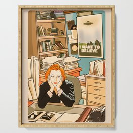 Dana Scully sit to the Fox Mulder's office Serving Tray