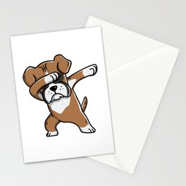 Funny Boxer Dog Dabbing Stationery Cards