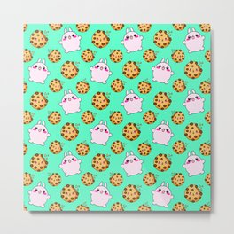 Cute funny Kawaii chibi little pink baby bunnies, happy sweet cheerful chocolate chip cookies cartoon light pastel teal green pattern design. Metal Print