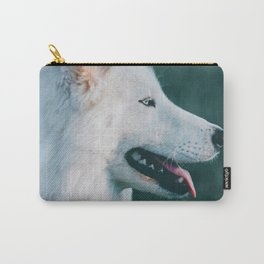 White Wolf Tongue Out (Color) Carry-All Pouch