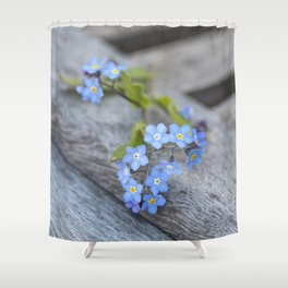 blue flower Fortget Me Not Shower Curtain