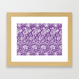 "William Morris Floral Pattern | ""Pink and Rose"" in Purple and White Framed Art Print"