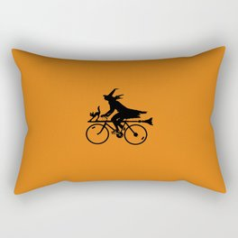 Witch on a Bicycle Rectangular Pillow