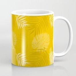 Earthy Mustard Yellow Palm Leaf Print Coffee Mug