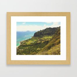 Kualoa Valley Landscape View Framed Art Print
