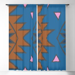 Tribal contours in blue Blackout Curtain