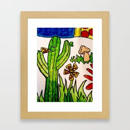 Cactus in a pizza paradise Framed Art Print