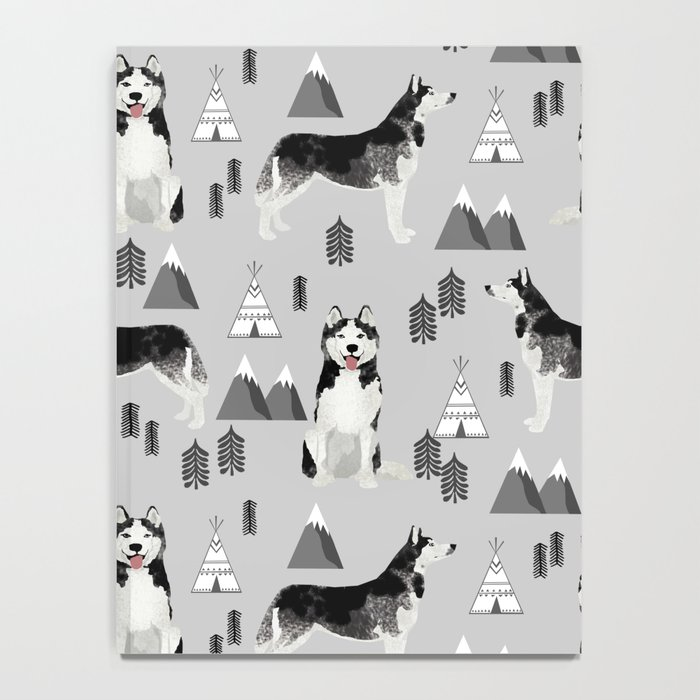 Husky siberian huskies mountains pet portrait dog dogs pet friendly dog breeds gifts Notebook