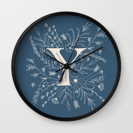 Botanical Letter Y (Lake Blue) Wall Clock