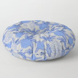 Pinecone Leaves in Sky Blue and Grey Floor Pillow