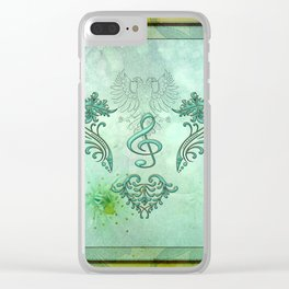 Music, decorative clef with floral elements Clear iPhone Case