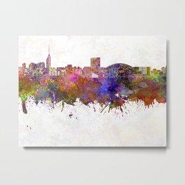 Fukuoka skyline in watercolor background Metal Print