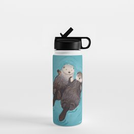 Otterly Romantic - Otters Holding Hands Water Bottle