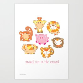 Silly Safari - Stand Out In The Crowd - vertical Art Print