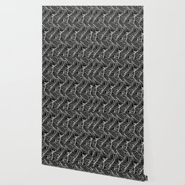 Simple Leaves Pattern - White on Black - Mix & Match with Simplicity of life Wallpaper