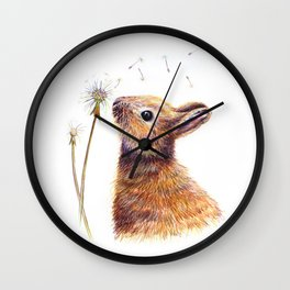 I wish for more dandelions - Rabbit and dandelion Wall Clock