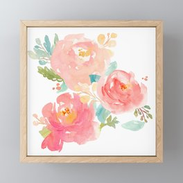Watercolor Peonies Summer Bouquet Framed Mini Art Print