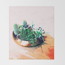 Cacti in a Copper Pot #society6 #decor #buyart Throw Blanket