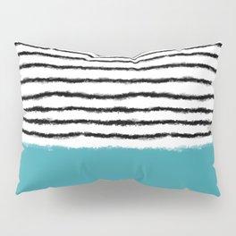 Watercolor Lines turquoise black Pillow Sham