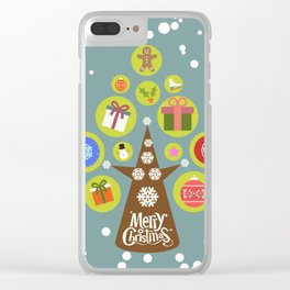 Merry Christmas with a Christmas tree Clear iPhone Case