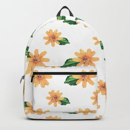 Yellow Flowers White Pattern Backpack