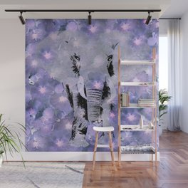 ELEPHANT AND LILAC PURPLE VIOLET BLOSSOMS Wall Mural